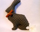 Stuffed Rabbit in Black, Gray and Cream Cotton Print Fabric, Bunny, Bowl Filler, Easter Decor, Spring, White Rose Flower, Stuffed Animal