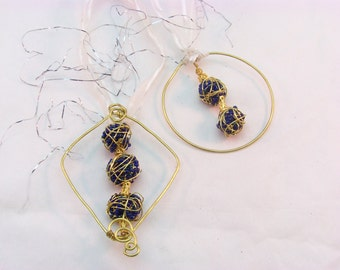 Wire and Bead Christmas Tree Ornament | Beaded Christmas Ornament | Blue and White Christmas Tree Ornament | Wire Wrapped Christmas Ornament