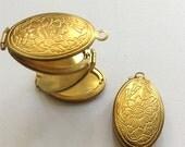 Folding locket oval layered 4 layers raw brass floral lockets 2 pcs