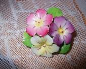 Vintage Enamel Flower Brooch Marked Cara China Made in England