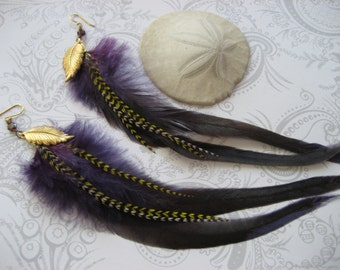 Lynne Earrings - extra long purple and gold grizzly feather earrings with gold, garnet, and brass leaves