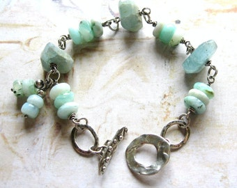 Peruvian Blue - Oxidized Sterling Silver, Moss Aquamarine and Peruvian Blue Opal Wire Wrapped Artisan Bracelet - Gift Box