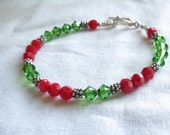 Red and Green Crystal Christmas bracelet