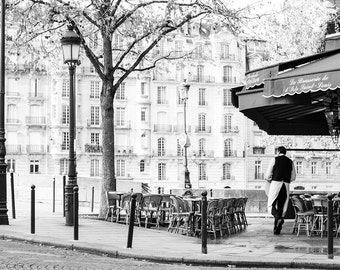 Paris Photography, Sunday Mornings on Ile St Louis, Classic Paris, Parisian Cafe, black and white photography, Paris Art, Paris Cafe Photo