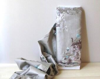 decorator drapery floral fabric yardage 7 yards screen printed polished cotton gray mauve pink aqua