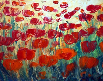 Flowers Painting Tulips Spring Landscape Original Abstract Oil Painting on Canvas