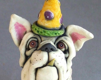English Bulldog with Party Hat Whimsical Ceramic Sculpture
