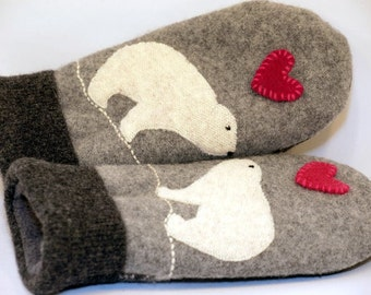 Recycled Polar Bear Mittens Felted Wool Grey Black and White with Applique and Leather Palm Eco Friendly Upcycled  Size M