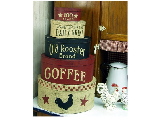 Old Rooster Brand Coffee primitive shaker style stacking boxes