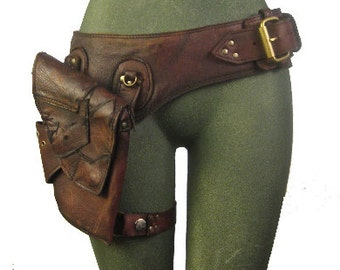 leather  hip bag  thigh bag  burning man  mad max  tank girl  holster belt   brown  apocalyptic, utility belt  steamppunk: Renegade Icon