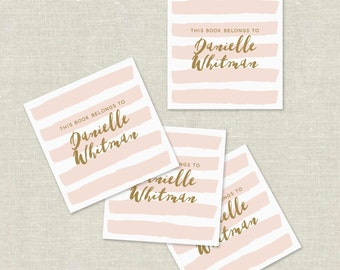 blush and gold custom bookplates, pink stripe bookplate stickers, personalized bookplates, pink book labels,  hostess gift, set of 20