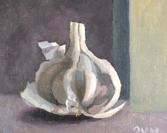 Oil study, abstract art, garlic, purple and white, kitchen art, gift idea, home decor, still life painting