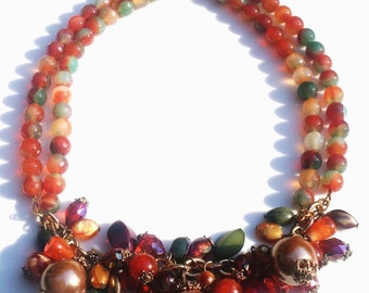Green Orange Agate Vintage Bauble Charm Handmade Necklace