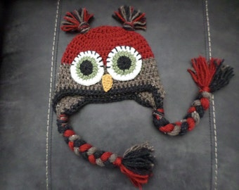 Red owl hat made to order in size newborn to adult