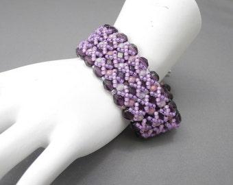 Purple Czech Glass Right Angle Weave Bracelet