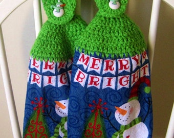 2 Crocheted Christmas Hanging Kitchen Towels - Merry & Bright