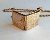 Antique Etched Locket Fob Diamond Shape Gold Shell Flower Designs Both Sides