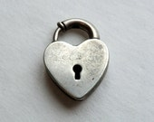 Vintage Sterling Walter Lampl Padlock Heart Charm No Key Necessary, Clasp Opens