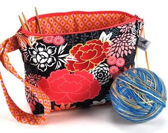Knitting Crochet Project Bag Clutch - Harajuku Garden