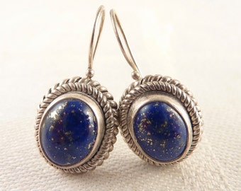Vintage Oval Lapis Sterling Rope Border Hook Earrings