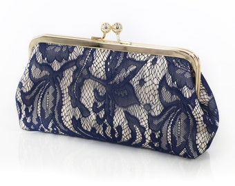 Champagne and Navy Lily Lace Bridal Clutch 8-inches | Bridesmaid Clutch