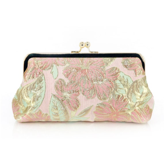 Gold Thread Brocade Clutch Bag in Pink and Green | Travel Wallet | honeymoon | Holiday Gift