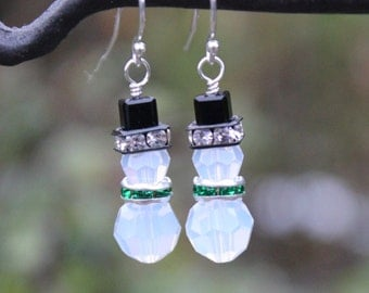 Opal snowman earrings - Swarovski crystal snowmen with black hats and green scarves on sterling silver ear hooks - free shipping USA