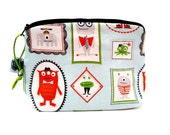 Zippered NOTIONS BAG with zipper pull - Little Monsters