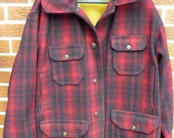Mans Size 44 - Woolrich hunters red black plaid wool coat