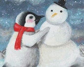 Penguin Cross stitch kit, Candace McKay, His Favourite Time Of Year , Modern Needlecraft Set, Winter cross stitch kit, Pattern Christmas