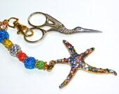 Cross Stitch, Needlepoint Scissor Fob, Star Fish Charm,Scissor Minder,  Pendant Keyring - Bag Charm
