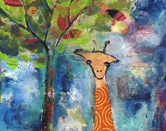Giraffe by the Tree || mixed media acrylic whimsical CANVAS print
