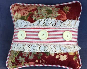 Petite pillow with vintage lace, Red ticking and vintage buttons
