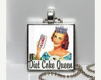 DIET COKE QUEEN Coca Cola Vintage Advertising Altered Art Pendant Charm Necklace