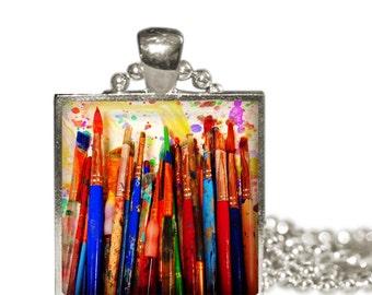 MESSY PAINT BRUSHES Charm Necklace Messy Paint Artist Painter Gift art major art teacher gift Pendant