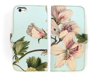 Leather iPhone 6 6s case, Galaxy S6 Case, iPhone 6s Plus Case, iPhone 5s SE Case - Rose Scented Geranium Folio Flip Wallet Style Phonecase