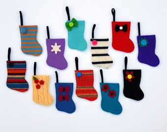 Mini Advent Calendar -Rescued Wool Mini Stocking Ornaments -12 Days of Christmas - recycled sweater wool by alicia todd
