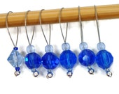 Knitting Stitch Markers Snag Free DIY Beaded Stitch Markers Sapphire Blue Gift for Knitter Craft Supplies TJBdesigns