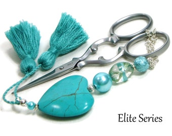 Scissor Fob Beaded Scissor Keeper Scissor Minder Elite Series Turquoise Heart Needlepoint Quilting Sewing Cross Stitch