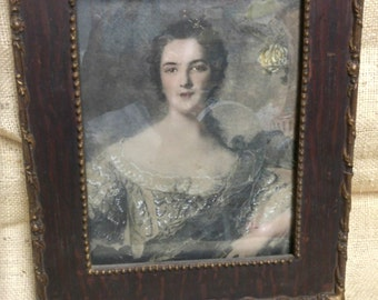 Antique Fancy Picture Framed Print of Elegant Lady 10 x 12 #A470