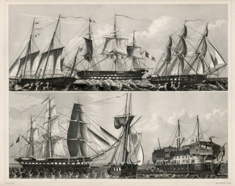 Antique Print of Ships - Galliot - Sloops - Frigates - 1852 Vintage Steel Engraving - Plate 14 - GIft for Him