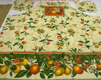 Apron Panel, Fruit Apron, Citrus Orchard Apron, Lemons and Oranges, Apron Panel, Cranston Print Works, Make your own apron