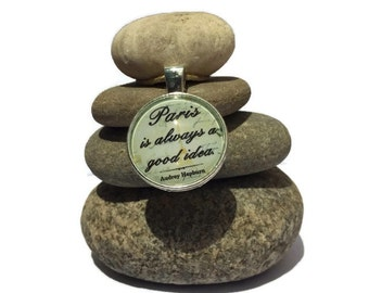Paris is always a Good Idea Rock Cairn, Audrey Hepburn, Travel, Zen, Positive Energy, Inspirational, Wishing Stones, Gratitude