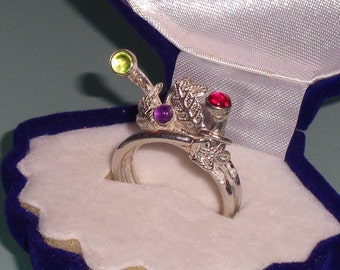 Pure Silver and Gemstones Ring Leaf Motif