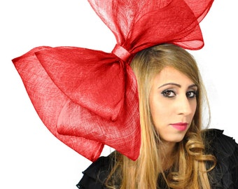 X-Large Cliverina Red  Fascinator Hat for Kentucky Derby & Ascot With Headband ( 40 colours)