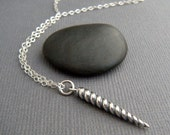 """small unicorn horn necklace. tiny sterling silver whimsical pendant. small simple girly charm. black and silver fun jewelry. gift for her 1"""""""