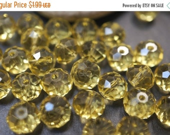 ON SALE CLOSEOUT Sale - Czech Glass Faceted Slightly Canary Yellow  Rondelle Beads - 6mmx8mm - 20 pcs