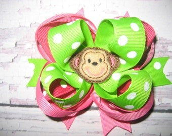 monkey hot pink and lime green Hair Bow