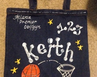 13x13 handpainted and personalized Denim Tote