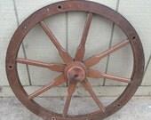 Wooden wheel- antique wheel- primitive rustic decor- antique rustic decor- round wall hanging- rustic decor